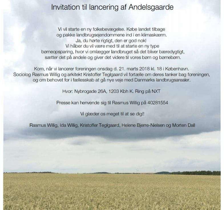 Invitation til lancering af Andelsgaarde