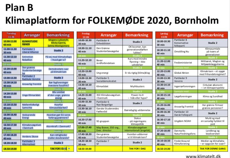Plan B – Klimaplatform for FOLKEMØDE 2020, Bornholm